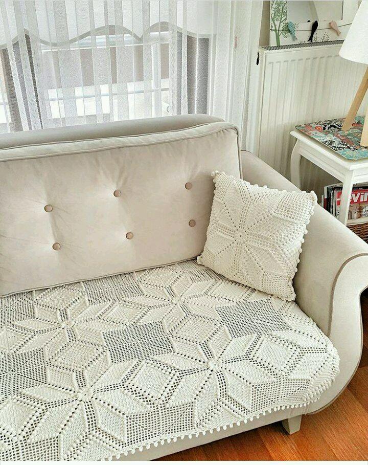 Вязаное покрывало- накидка на диван ШИК – купить в ...