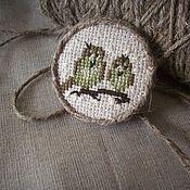 """Украшения handmade. Livemaster - original item """"Весна на дворе...."""" Льняная брошь с ручной вышивкой.. Handmade."""