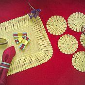 Для дома и интерьера ручной работы. Ярмарка Мастеров - ручная работа Набор сервировочный на 6 персон, связанный крючком. Handmade.