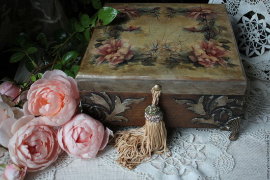 """Шкатулки ручной работы. Ярмарка Мастеров - ручная работа. Купить шкатулка """"Розовый венок"""". Handmade. Шкатулка, шкатулка для мелочей, дерево"""