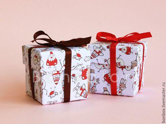 Подарочная упаковка ручной работы. Ярмарка Мастеров - ручная работа. Купить Новогодняя коробка, Бонбоньерка 5х5х5 см.. Handmade. Коробочка