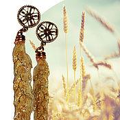 """Украшения ручной работы. Ярмарка Мастеров - ручная работа Серьги-гвоздики """"Над пропастью во ржи"""" золотые. Handmade."""