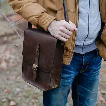 Bags and accessories handmade. Livemaster - original item Bag mens leather tablet BONN. Handmade.