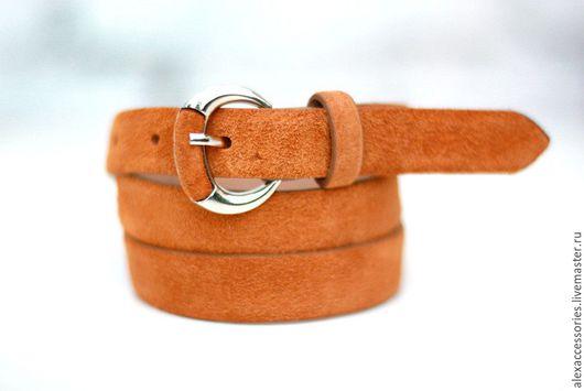 Пояса, ремни ручной работы. Ярмарка Мастеров - ручная работа. Купить Замшевый оранжевый ремень, замшевый ремень, кожаный ремень, пояс. Handmade.