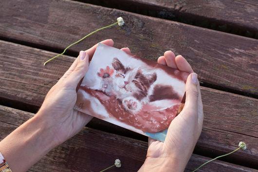 Открытки на все случаи жизни ручной работы. Ярмарка Мастеров - ручная работа. Купить Набор открыток: Теплые коты. Handmade. Открытки