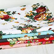 Материалы для творчества ручной работы. Ярмарка Мастеров - ручная работа Хлопковая ткань С розами 5 цветов. Handmade.