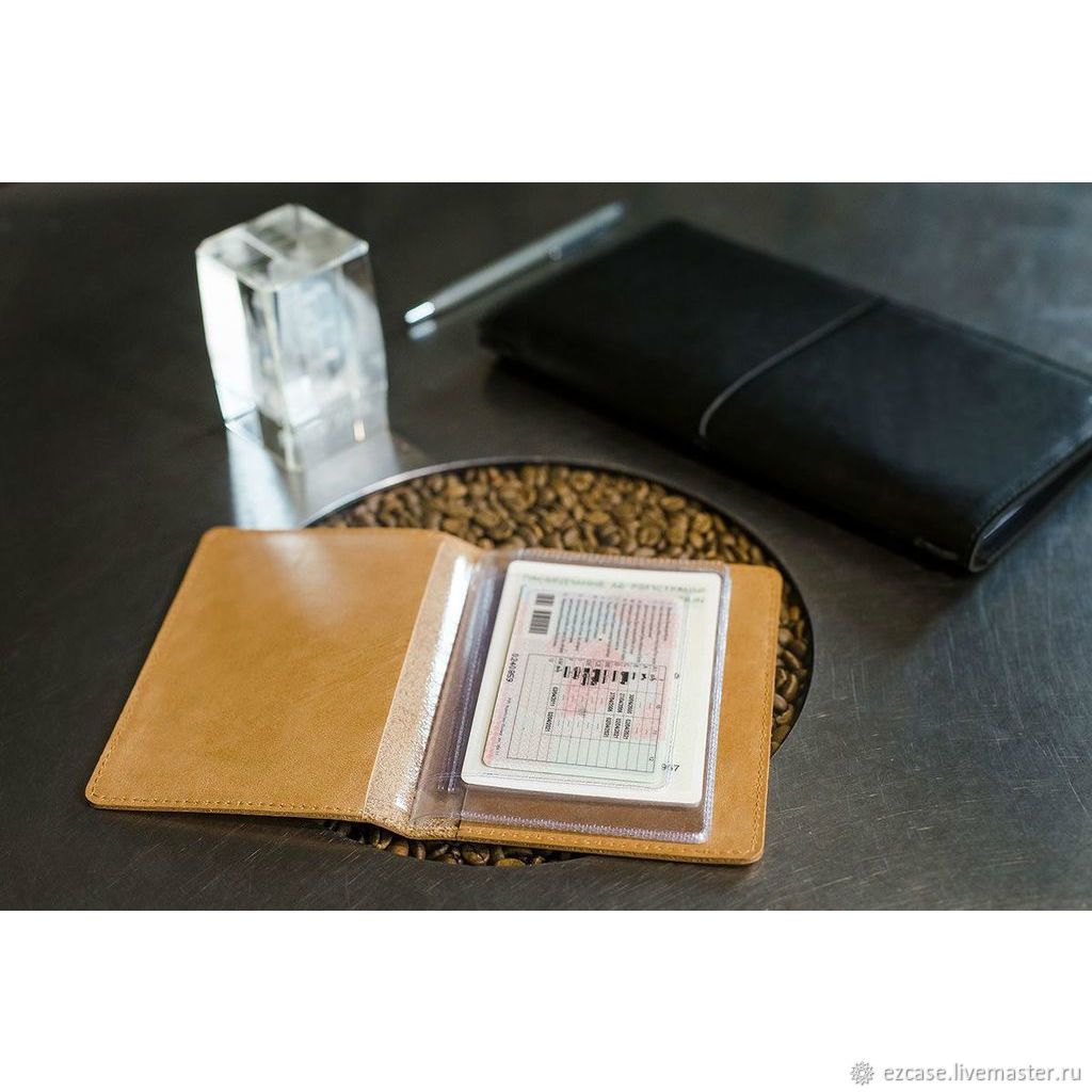 Buy leather cover for car documents, car covers made of leather, Passport cover, Moscow,  Фото №1