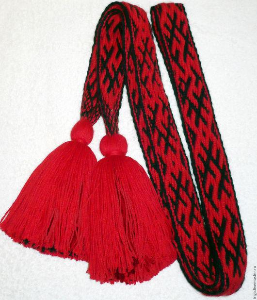 Пояс тканый на бердо со славаянским символом `Одолень-Трава`. 1000 руб.  за метр.