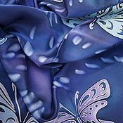 """Аксессуары ручной работы. Ярмарка Мастеров - ручная работа Платок шелковый батик """"Бабочки"""". Handmade."""