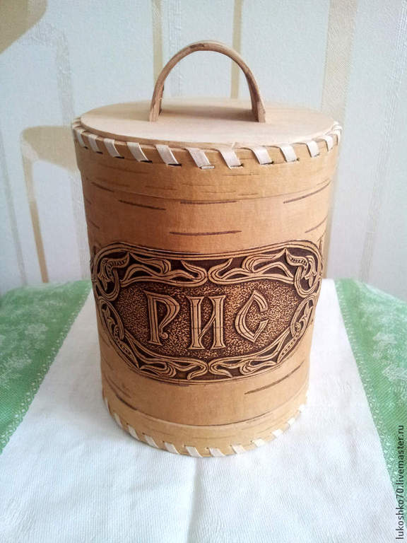Birch bark basket. birch bark for rice. The product of birch bark for storage of cereals, Jars, Tomsk,  Фото №1