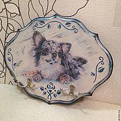 Для дома и интерьера ручной работы. Ярмарка Мастеров - ручная работа вешалка-ключница настенная Собака декупаж подарок на любой случай. Handmade.