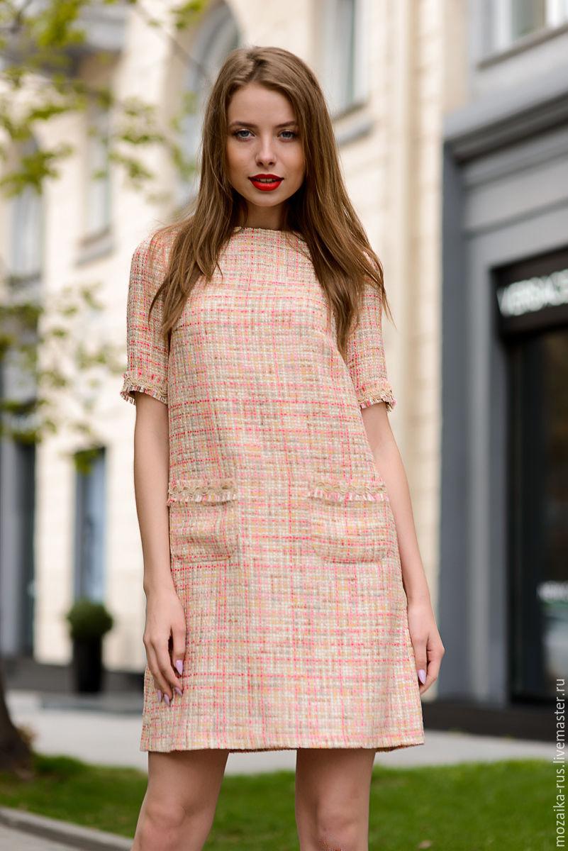 74035e4bfb5 Livemaster Dresses handmade. Dress in Chanel style champagne color.  mozaika-rus. My Livemaster Dresses handmade.