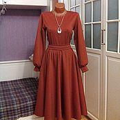 Одежда ручной работы. Ярмарка Мастеров - ручная работа Трикотажное платье миди Терракотовое. Handmade.