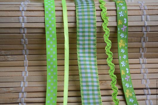 Шитье ручной работы. Ярмарка Мастеров - ручная работа. Купить Набор лент и тесьмы салатово-зеленый. Handmade. Набор лент