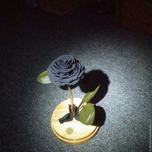 Цветы ручной работы. Ярмарка Мастеров - ручная работа. Купить Роза, которая не увядает от трех до пяти лет. Handmade. Черный