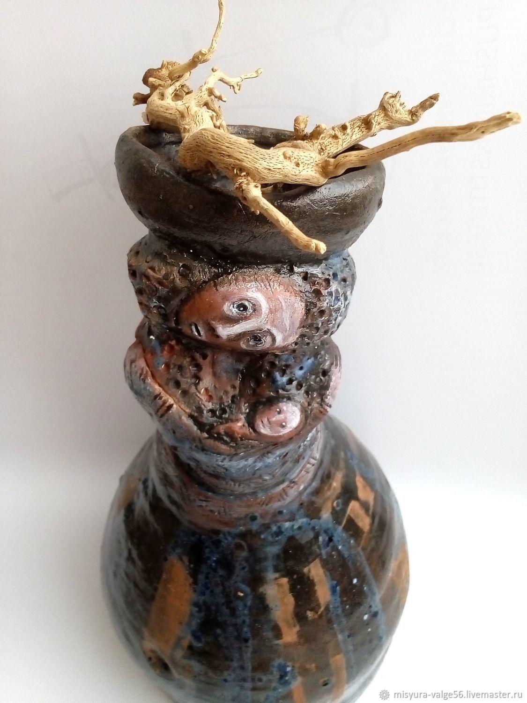 Ваза из керамики handmade.Кариатида с младенцем.Цветные глазури.Акрил