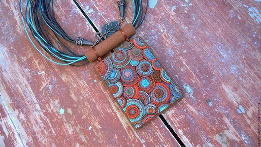 Кулоны, подвески ручной работы. Ярмарка Мастеров - ручная работа. Купить Подвеска из полимерной глины Этническая. Handmade. Рыжий, подвеска