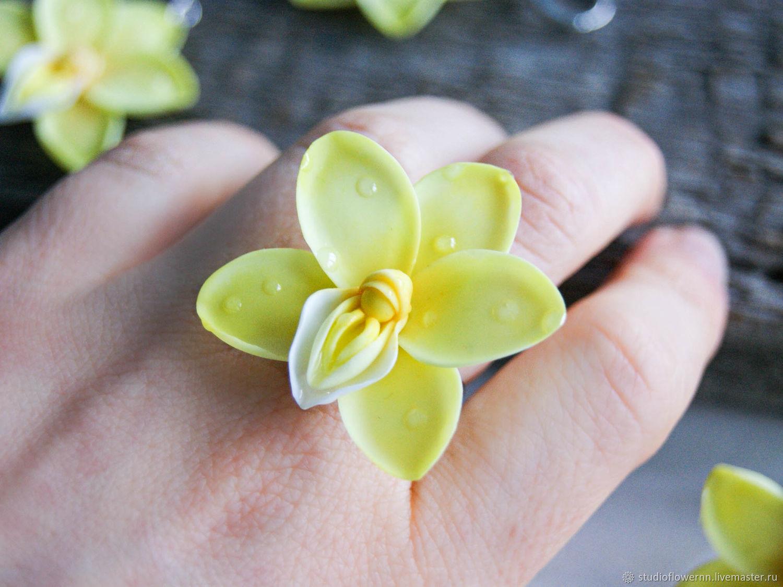Yellow orchid ring, polymer clay, Rings, Nizhny Novgorod,  Фото №1