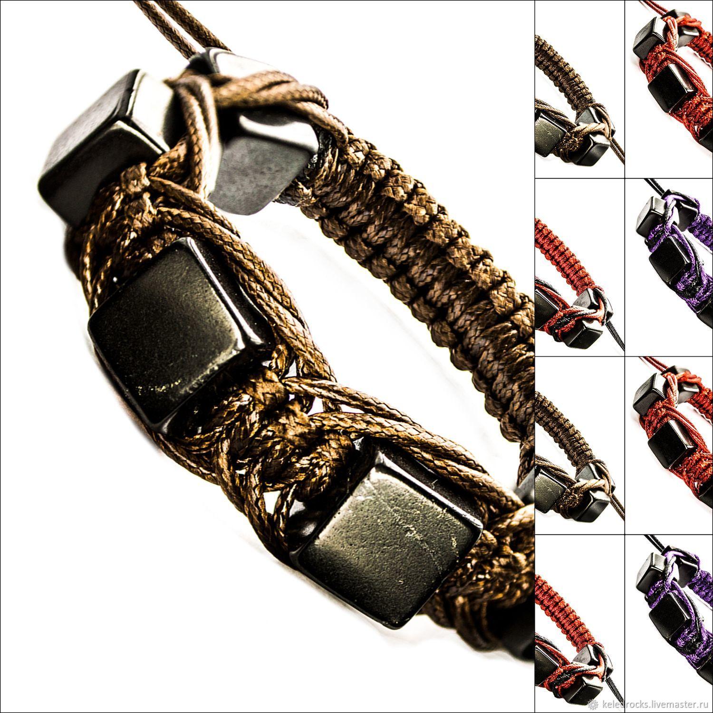 Шамбала из натурального шунгита с разными цветами шнуров (КВ Арахна), Браслет-шнурок, Петрозаводск,  Фото №1