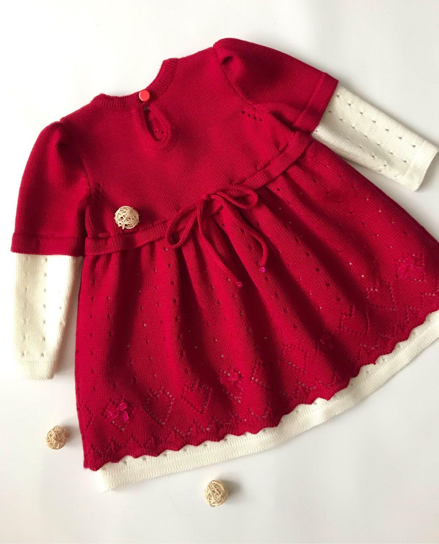 Вязаное платье для девочки «мое сердечко»
