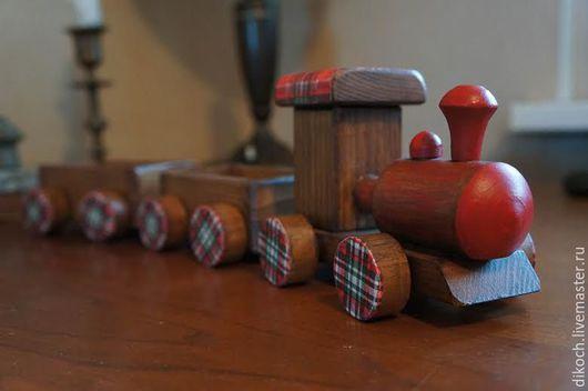 Техника ручной работы. Ярмарка Мастеров - ручная работа. Купить Паровоз красный с вагонами. Handmade. Паровозик, деревянная игрушка