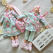 Куклы Тильда ручной работы. Ярмарка Мастеров - ручная работа Сплюшки в стиле тильда мятно-розовые. Handmade.