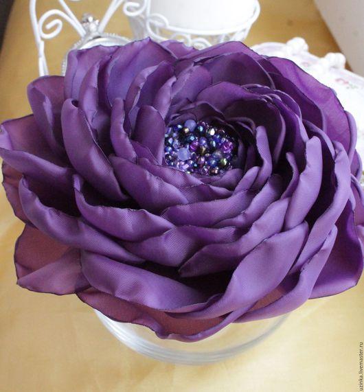 """Броши ручной работы. Ярмарка Мастеров - ручная работа. Купить Брошь-цветок из ткани """"Сливовый"""". Handmade. Фиолетовый, брошь"""