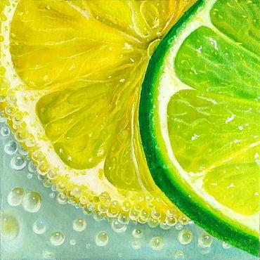 Картины и панно ручной работы. Ярмарка Мастеров - ручная работа Картина маслом Лимонно-лаймовый коктейль гиперреализм на холсте. Handmade.