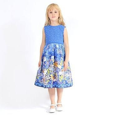 Работы для детей, ручной работы. Ярмарка Мастеров - ручная работа Нарядное платье для девочки из американ. хлопка с феями на синем фоне. Handmade.