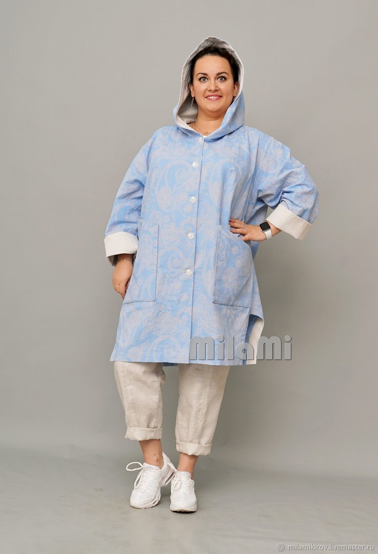 Art. .4408 Summer blue linen coat without lining, Wind Jackets, Kirov,  Фото №1