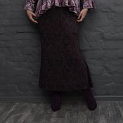 Одежда handmade. Livemaster - original item Skirt with undercut and a flounce in the back, lining. Dark purple. Art.1585. Handmade.