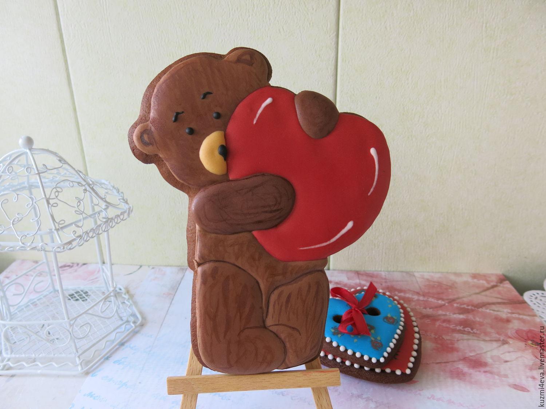 Имбирный пряник Мишка с сердцем, Подарки, Москва, Фото №1