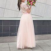 Одежда ручной работы. Ярмарка Мастеров - ручная работа Персиковая юбка из фатина в пол. Handmade.