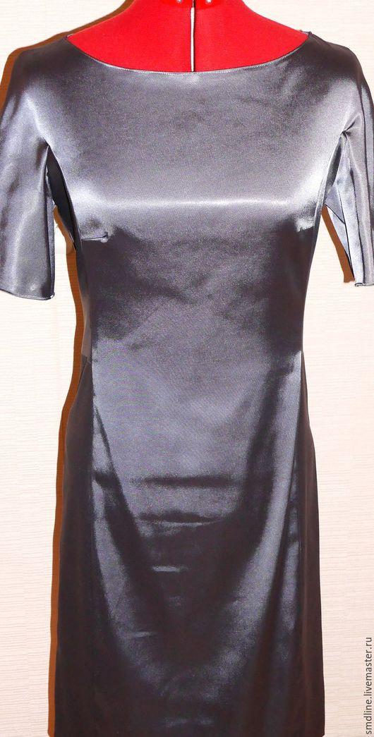 Платья ручной работы. Ярмарка Мастеров - ручная работа. Купить Платье из серого атласа. Handmade. Темно-серый, платье коктельное