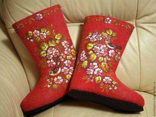 Обувь ручной работы. Ярмарка Мастеров - ручная работа. Купить валенки Райский сад. Handmade. Валенки, войлок, валенки на подошве