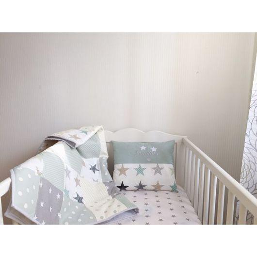 Детская ручной работы. Ярмарка Мастеров - ручная работа. Купить Лоскутное одеяло и именная подушечка. Handmade. Одеяло пэчворк