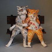 Для дома и интерьера handmade. Livemaster - original item Lovers cat and the cat. Porcelain figurine.. Handmade.