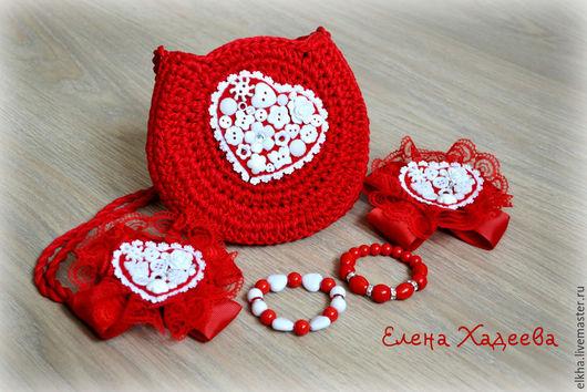 """Детская бижутерия ручной работы. Ярмарка Мастеров - ручная работа. Купить Комплект - """"Сердце бывает разное - Красное"""". Handmade."""