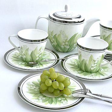 Посуда ручной работы. Ярмарка Мастеров - ручная работа Сервиз чайный Ландыши. Handmade.