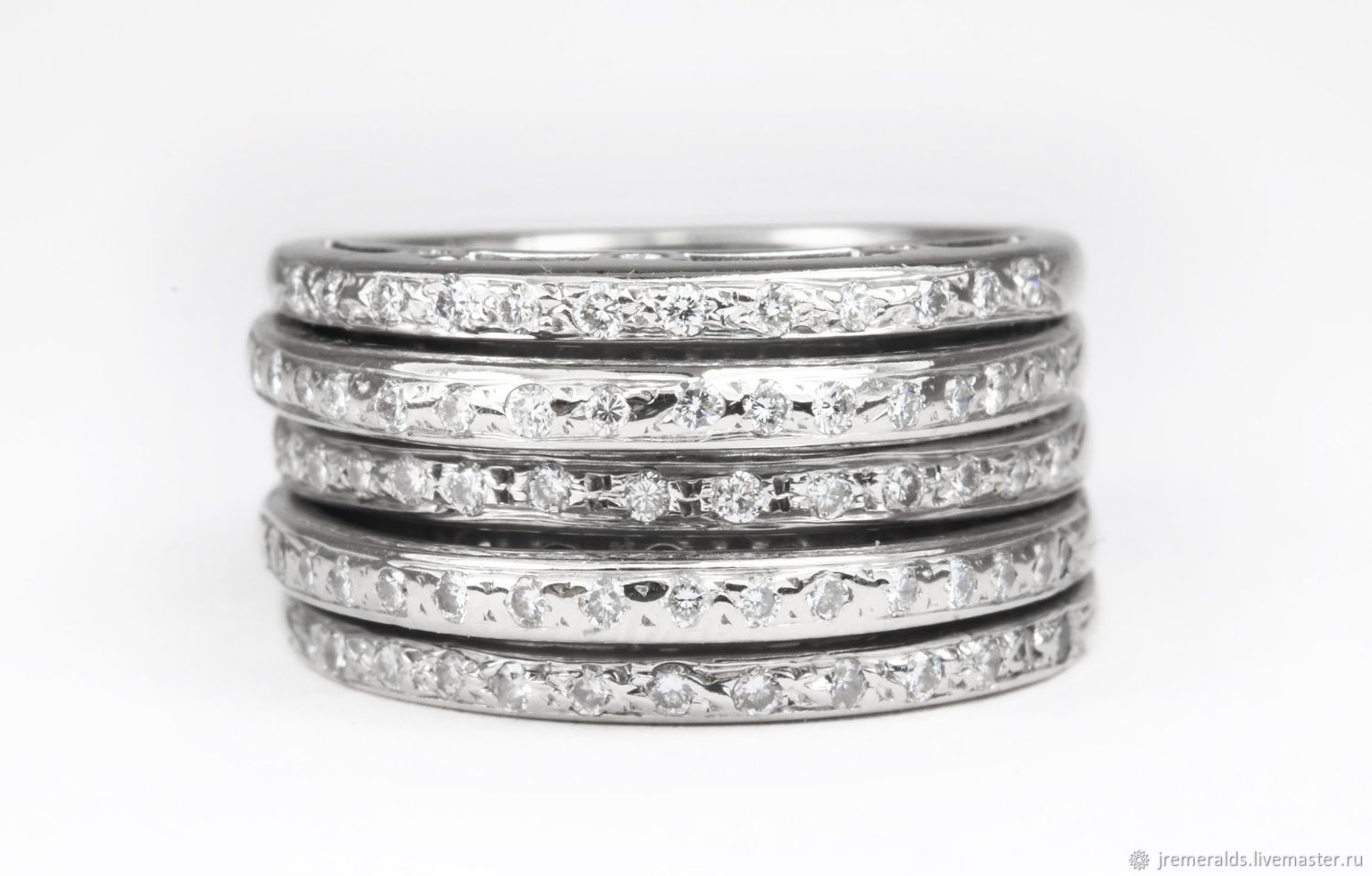 62fa65a380b0b Diamond Multi Band ring 14K White Gold, Five Row Diamond Ring Band, 5 –  shop online on Livemaster with shipping - GNH7VCOM   West Palm Beach