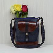 Сумки и аксессуары ручной работы. Ярмарка Мастеров - ручная работа Кожаная сумка планшет, кожаная сумка на плечо. Темно-синий, рыжий. Handmade.