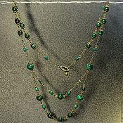 Украшения handmade. Livemaster - original item Elegant chain necklace with natural malachite. Handmade.