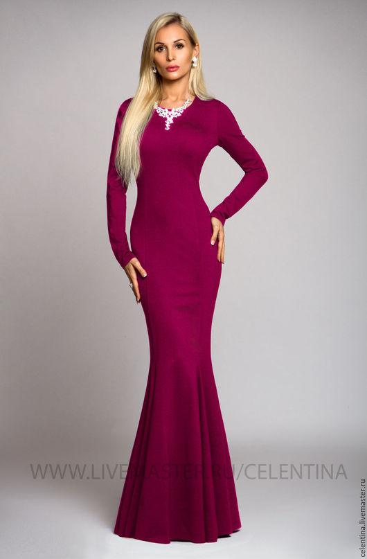 Фуксия платье, длинное трикотажное платье, длинное теплое платье, вечернее платье в пол, осеннее платье, длинное осеннее платье, трикотажное розовое платье в пол, модное красивое платье, фуксия