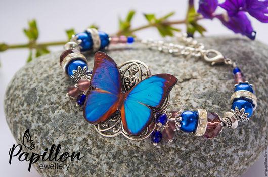 браслет ручной работы купить браслет магазин подарков ярмарка мастеров эпоксидная смола браслет в подарок браслет бабочка украшения ручной работы интернет магазин украшений фото синий браслет