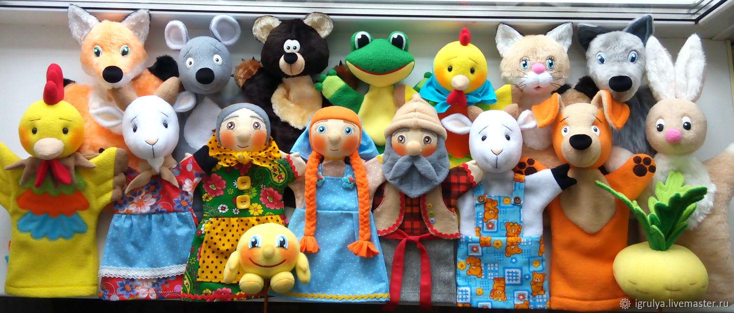 Кукольный театр ручной работы. Ярмарка Мастеров - ручная работа. Купить Перчаточные куклы: основные персонажи. Handmade. Кот, колобок