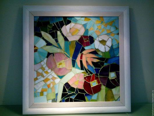 """Картины цветов ручной работы. Ярмарка Мастеров - ручная работа. Купить Мозаика """"Цветы"""". Handmade. Голубой, цветы, прованский стиль"""