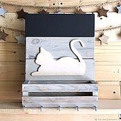 Ключницы ручной работы. Ярмарка Мастеров - ручная работа Ключница настенная полка грифельная доска кошка. Handmade.