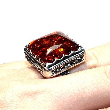 Decorations handmade. Livemaster - original item Silver Ring / ring made of natural amber (a). Handmade.