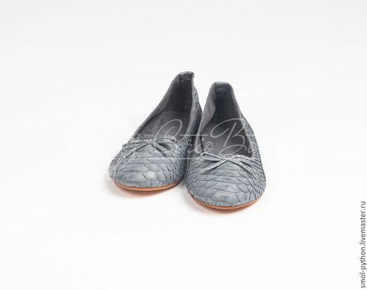 Обувь ручной работы. Ярмарка Мастеров - ручная работа. Купить Скидка! Балетки из кожи питона. Handmade. Балетки из питона, серый