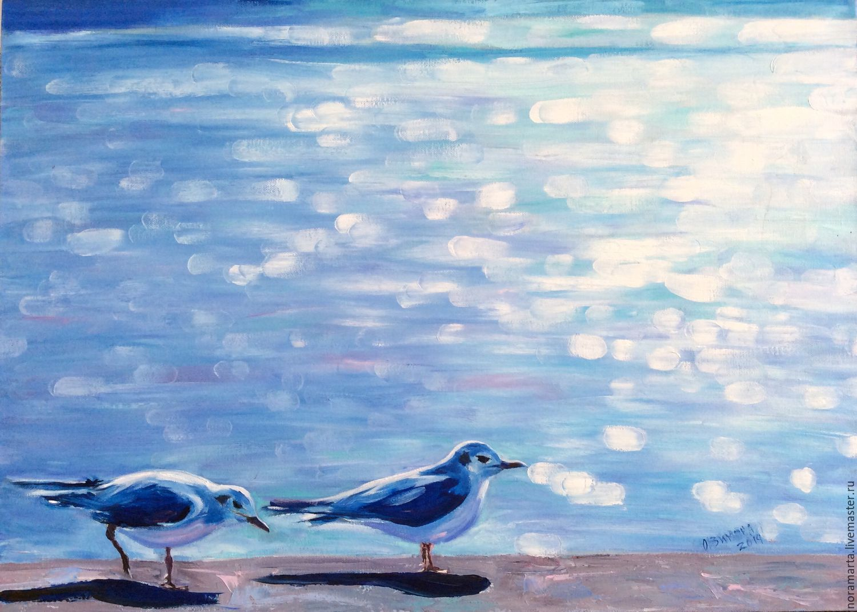 Картина Море Картина маслом Картина на холсте Голубой Синий Море Чайки Солнце Блики на воде Вода